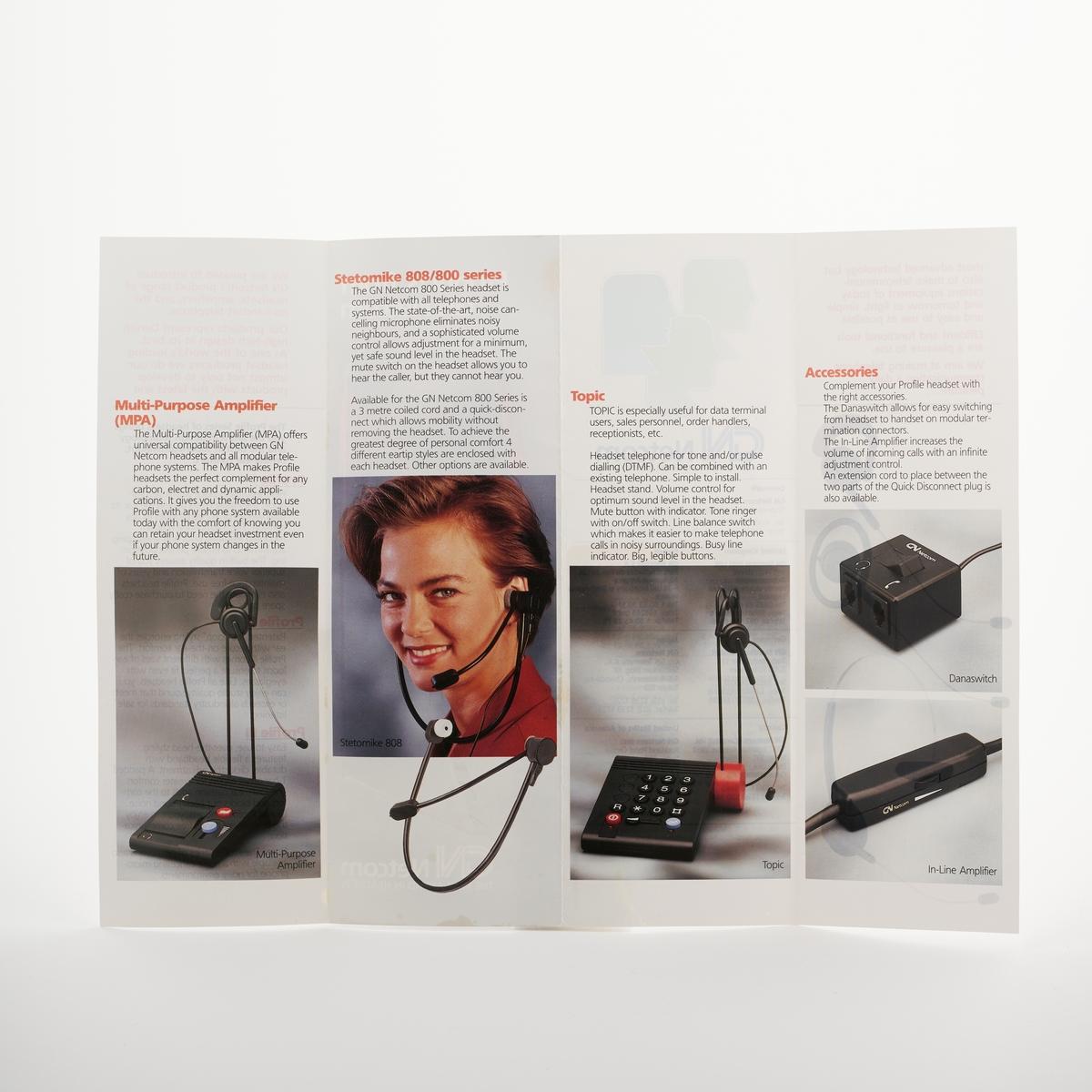 Bilde av et flatt, gjennomsiktig hode i plast i profil, bilde av en kvinne med hodetelefoner og bilder av hvordan man kan bruke hodetelefonene.