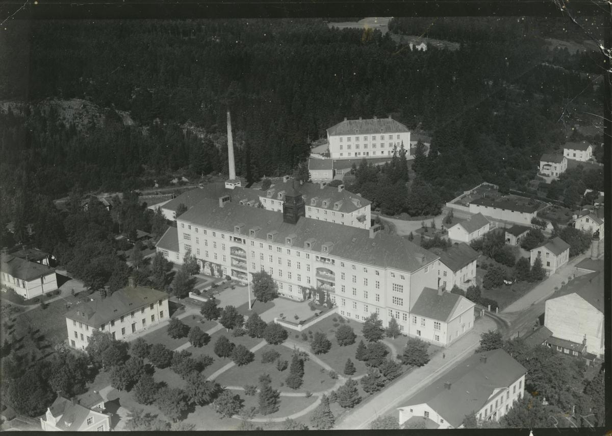 Flygfoto över länslasarettet i Hudiksvall.