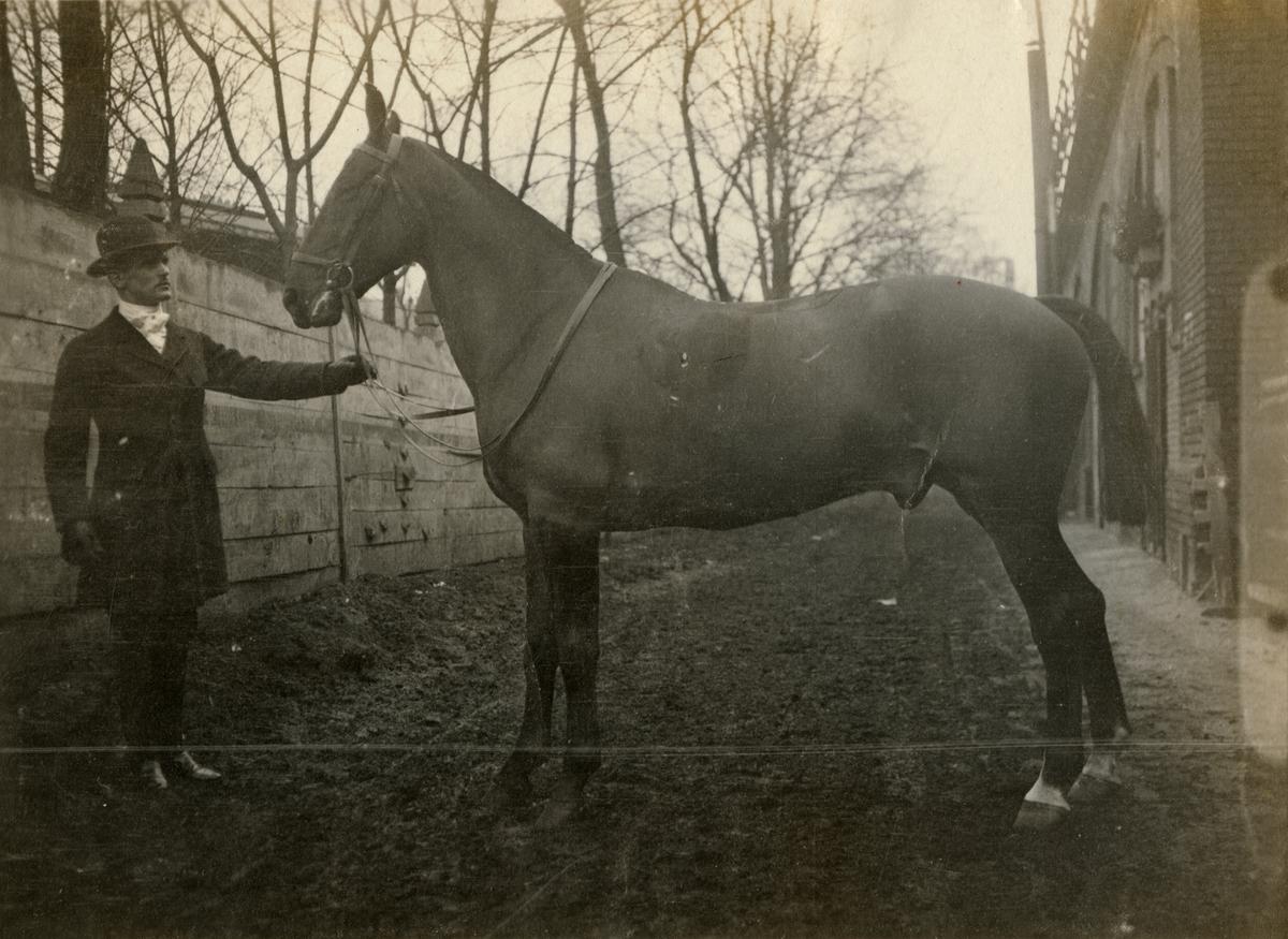 """Okänd man med hästen """"Full Cry"""", inköpt från Tyskland."""