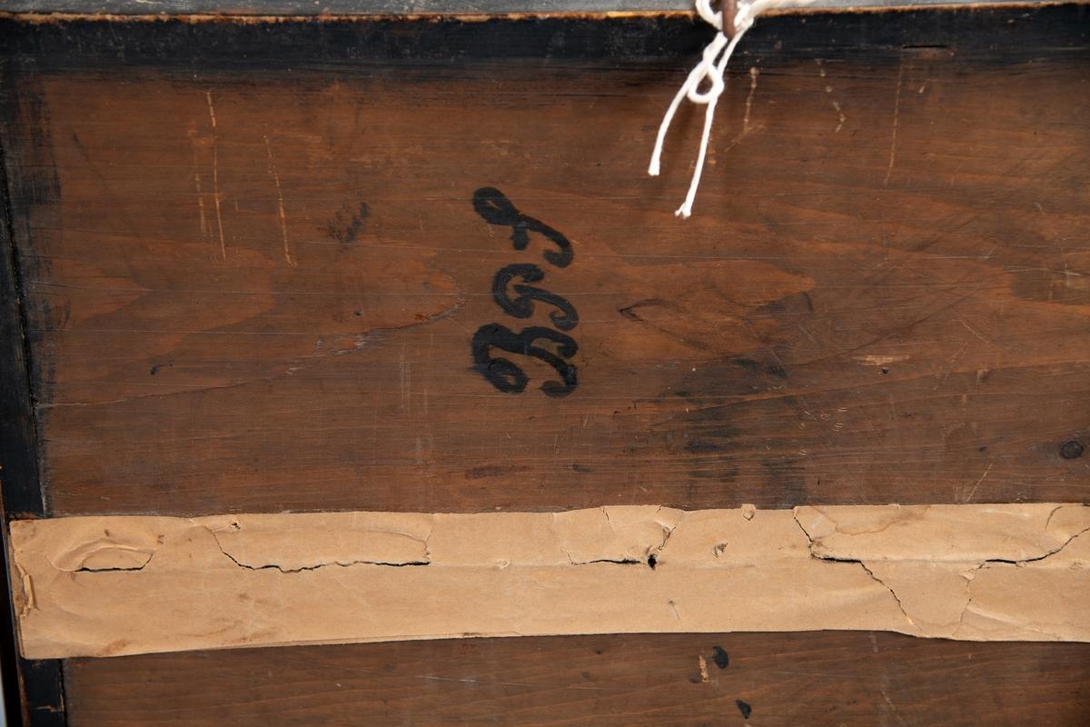 Halvmodell, av fullrigger JANNA, Fevik. i glass. Skrog og seil skåret i halv bredde fullt plastisk, stiftet på malt  bakgrunn. Sort skrog med gullstripe  og navnet i gull.  De Forente staters flagg på fortoppen,  navnevimpel på stortoppen,  og norsk unionsflagg på kryssmasten.  Relieff, utformet, grønnmalt sjø med  hvite skumtopper,  kutter malt på bakgrunnen. På kassens bakside påskrevet  B.I.S.