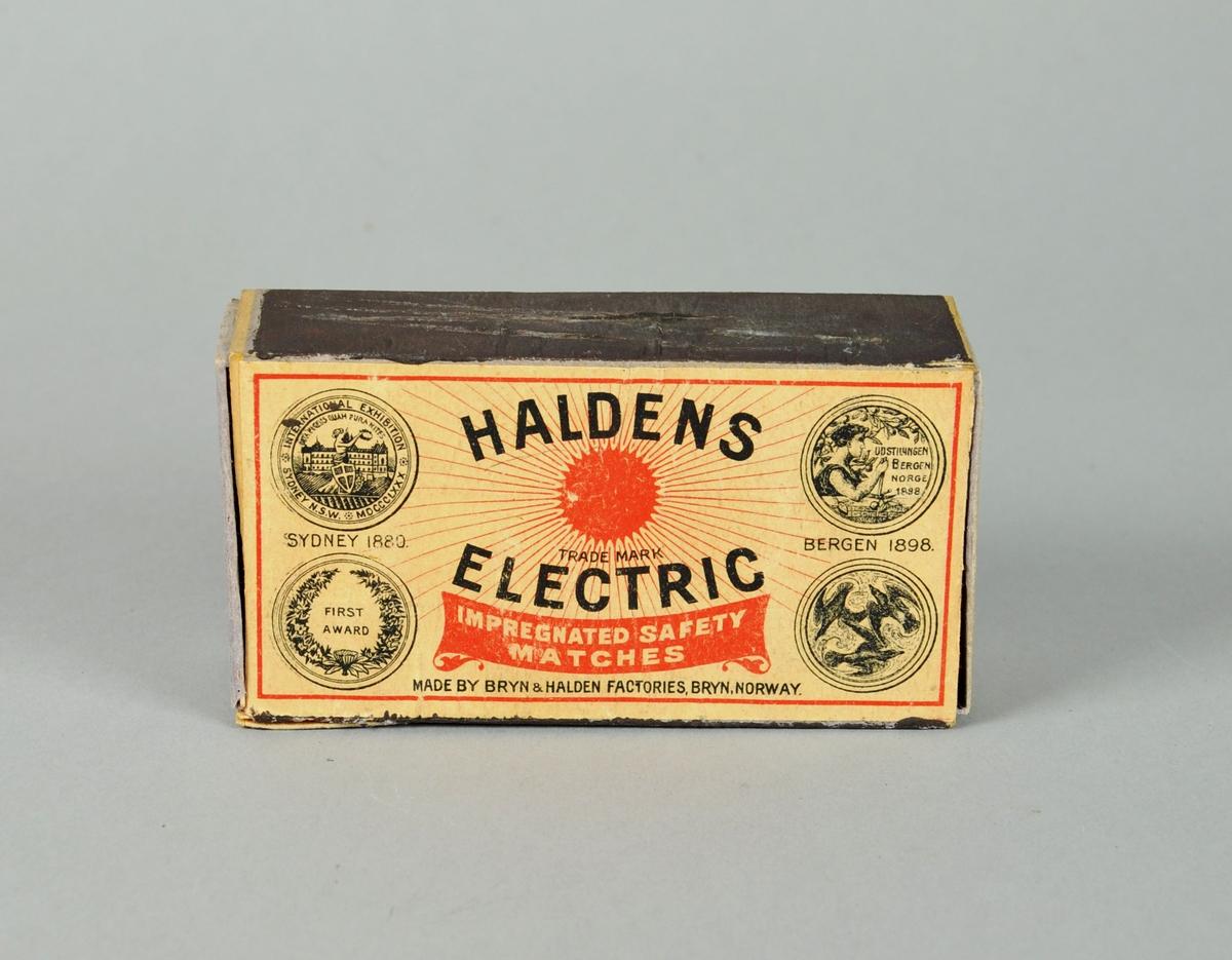 Fyrstikkeske fra Haldens Electric med fyrstikker. Esken har tennflater på begge langsider.