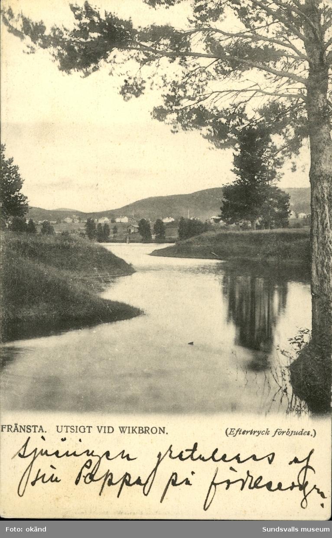 Vykort med motiv över utsikten från vikbron i Fränsta.