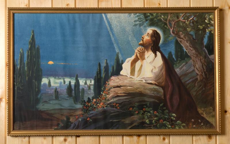 Tilsvarende bilde av Jesus i Getsemane hage hang på veggen i kammerset til Ole og Elvira Persen