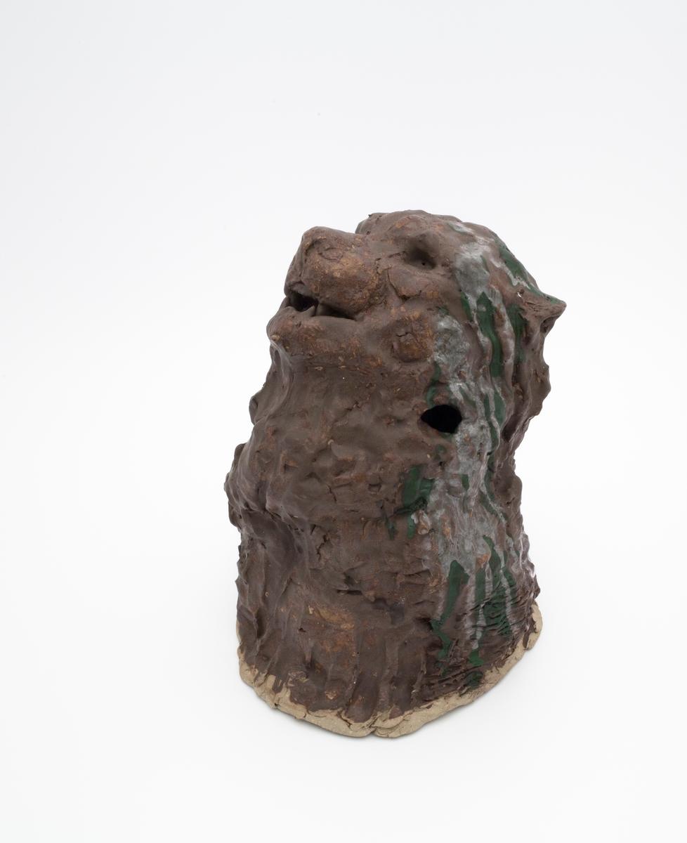 Et dyrehode av et kattedyr som har hodet vendt på skrå oppover.