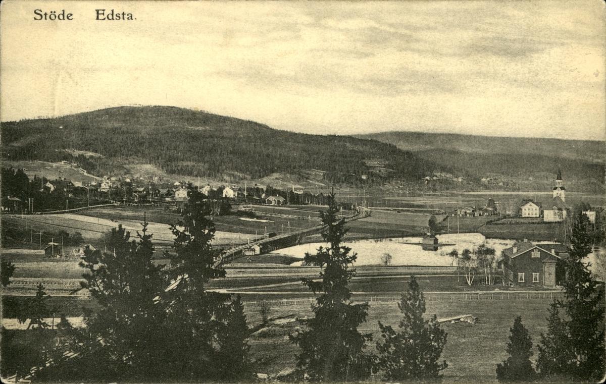 Vykort med motiv över Edsta i Stöde.
