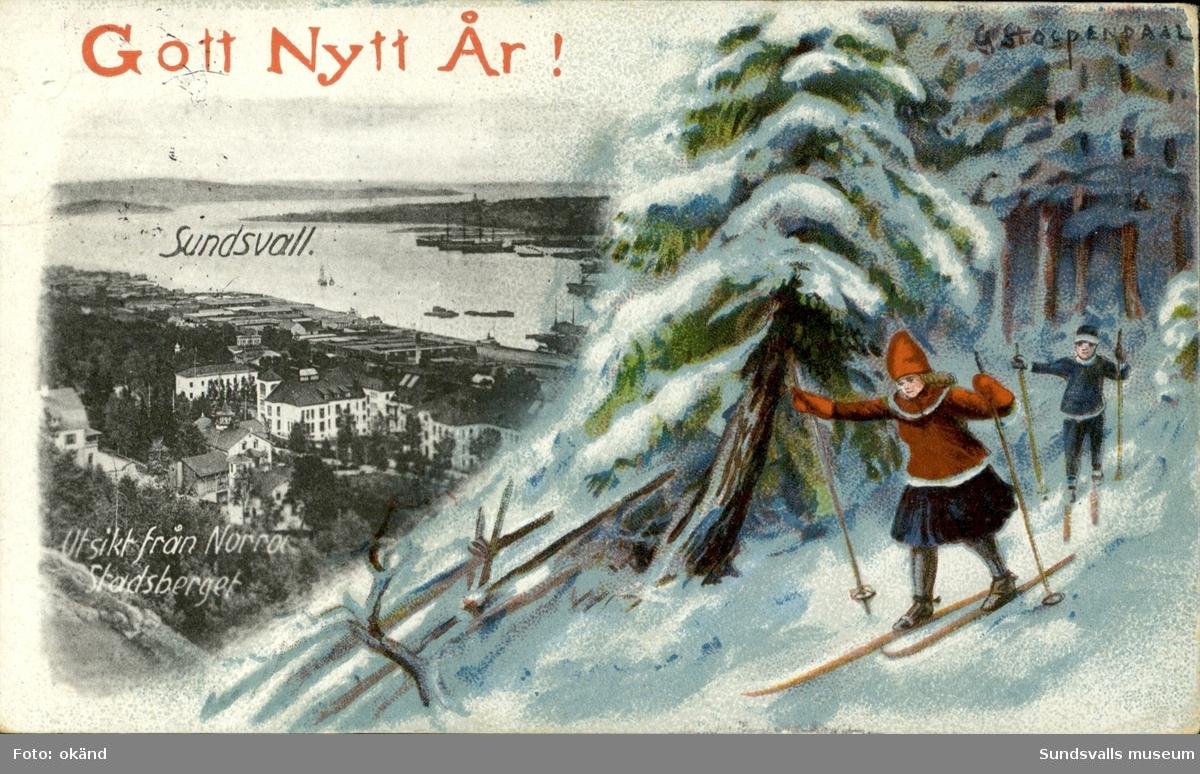 Vykort med motiv över Hamnen med texten Gott Nytt År  Sundsvall- Utsikt från Norra Stadsberget.
