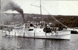 Vykort med motiv av ångbåten Svartvik med passagerare i Sund