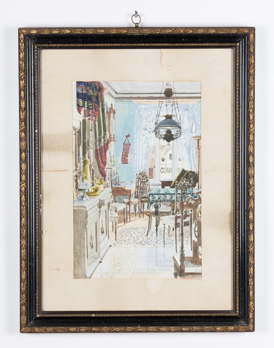 Akvarell av P: Arntsen? I glass og ramme.