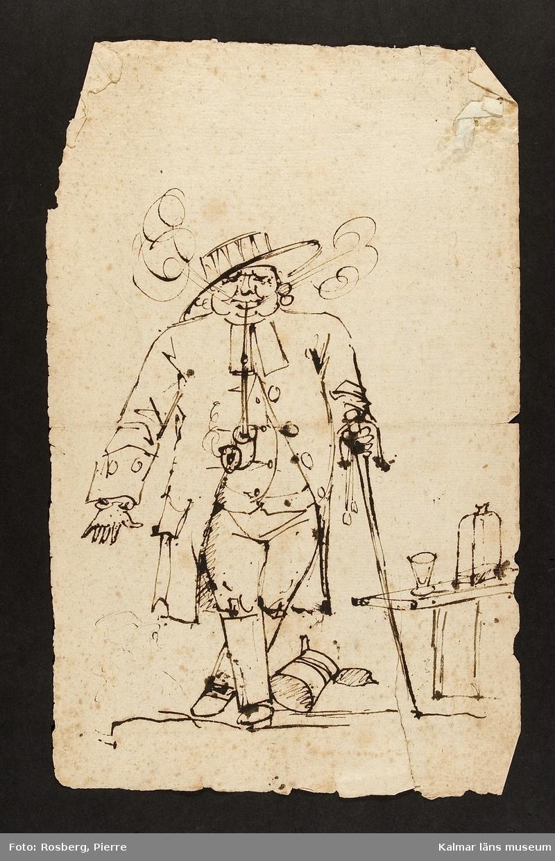 En man som röker pipa, dryckeskärl intill.