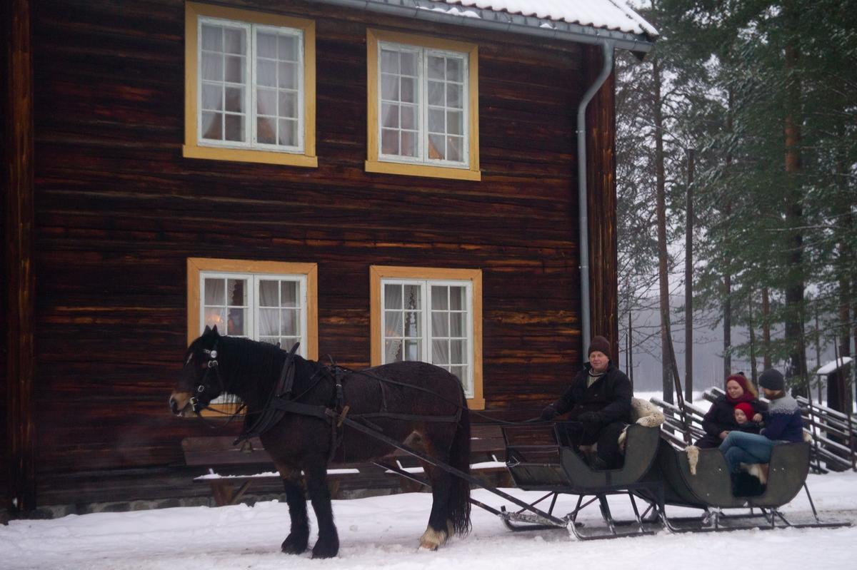 Hest og sluffe foran Gjersøyen