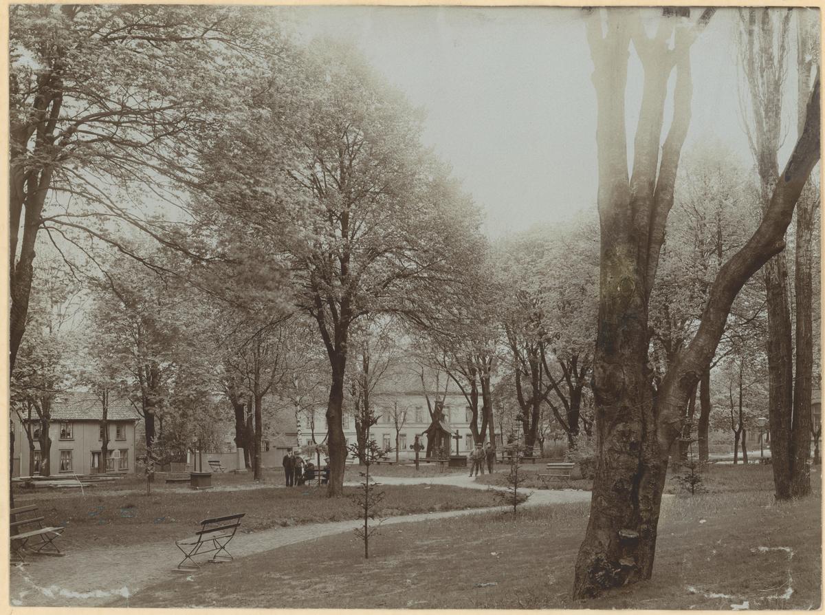 Dronningens gate. Kirkeparken. Ca. 1910.  Fotograf har stått omtrent der paviljongen står i dag. Detaljer:Dronningens gate 25 Krusegården, Moss hotell, folk, park. Historikk:Det ble senere oppført en musikkpaviljong til byjubileet i 1920.
