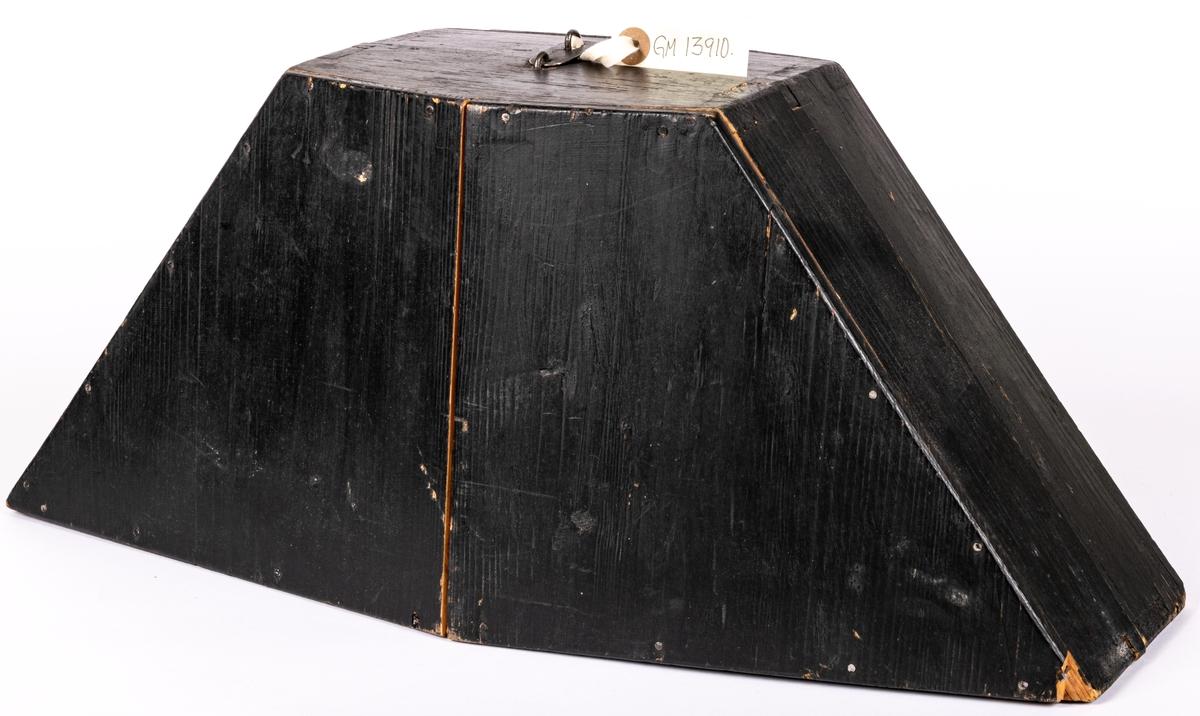 Hatt, båtformig. enligt uppgift brukspatronhatt. Förvaras i träask.