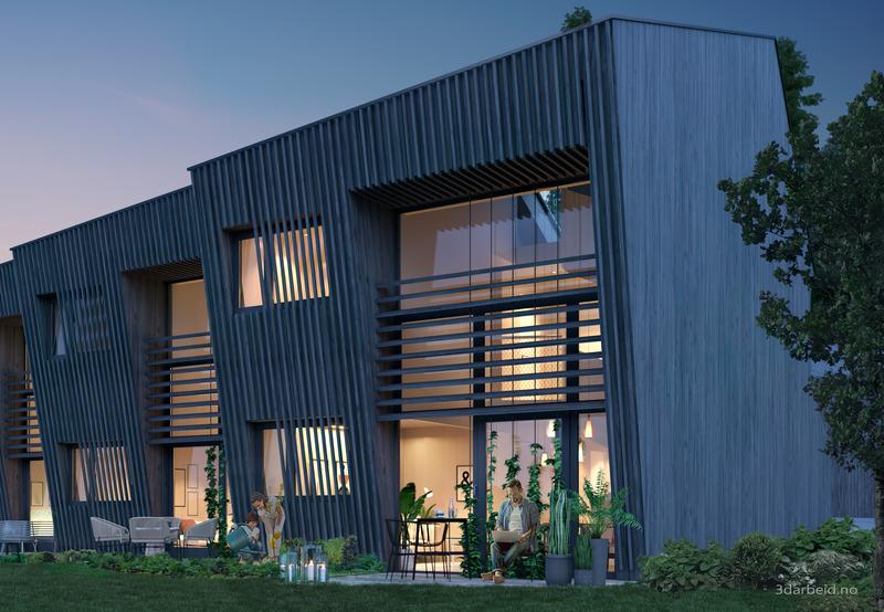 Kommende bærekraftige rekkehus på Åros. Prosjekt av Snøhetta.