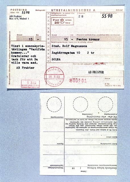 Seriebild H 10. Fram- och baksida av postgiroutbetalningskort. Upptill ifylld framsida med fiktiv avsändare och mottagare. Postgirots stämpel är daterad 06.8.63. Nedtill ej kvitterad baksida, med talongen avriven.