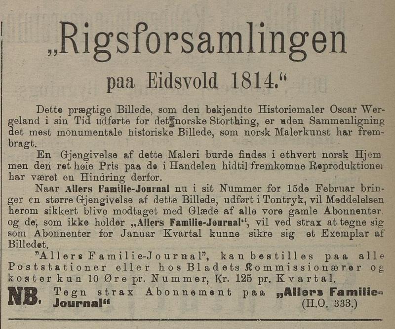 Faksimile. Annonse for Allers Familiejournal i Flekkefjordsposten 13. februar 1903