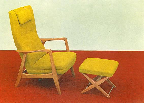 Den originale Rockestolen ble en trendsetter – og Arnestad Bruks mest kjente produkt. Her ser vi modellen Siesta. Bildet er fra en reklamebrosjyre og er utlånt av Per Rohde Natvig, hentet fra Vollen Historielags årbok.