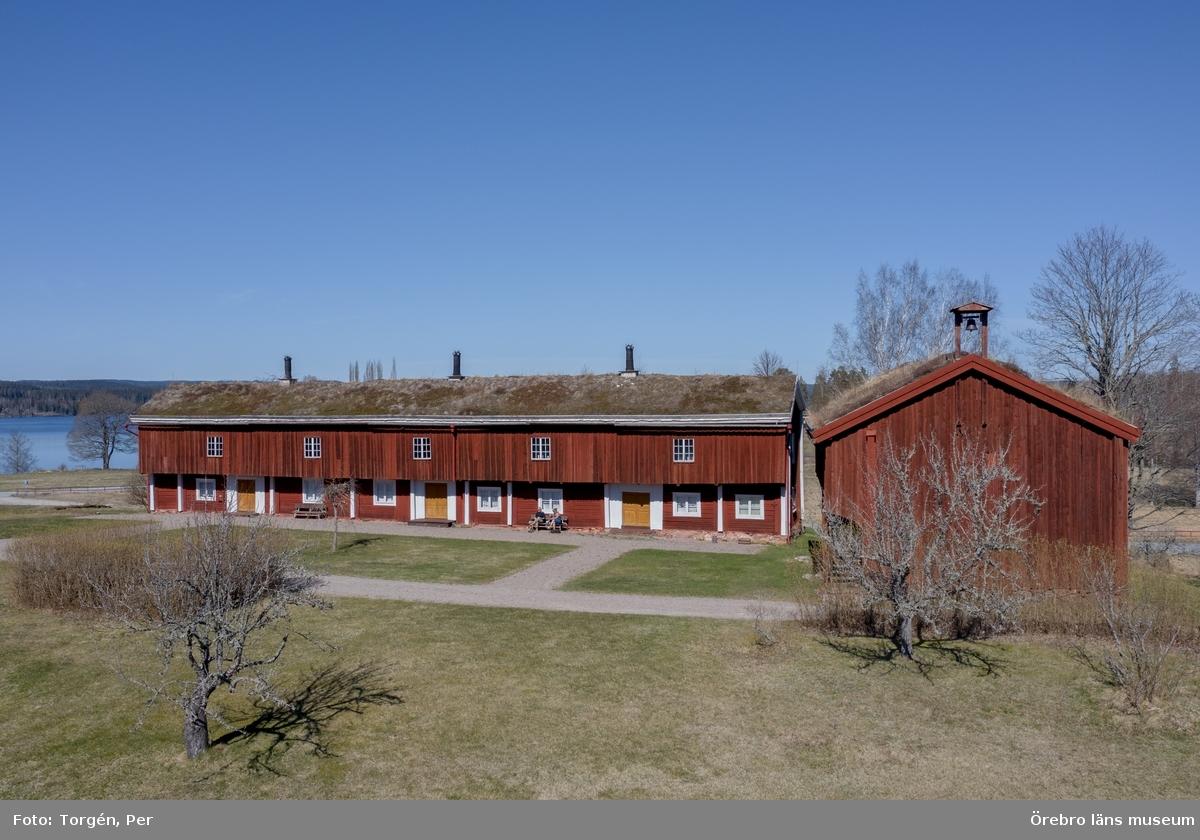 Drönarbilder från Siggebohyttans bergsmansgård april 2020.
