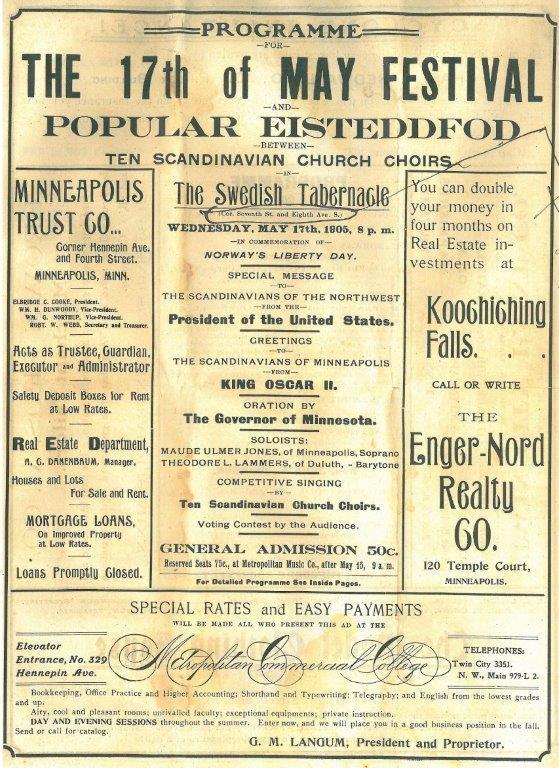 17. maiprogram 1905 i Minneapolis. Kilde: Norsk utvandrermuseum.