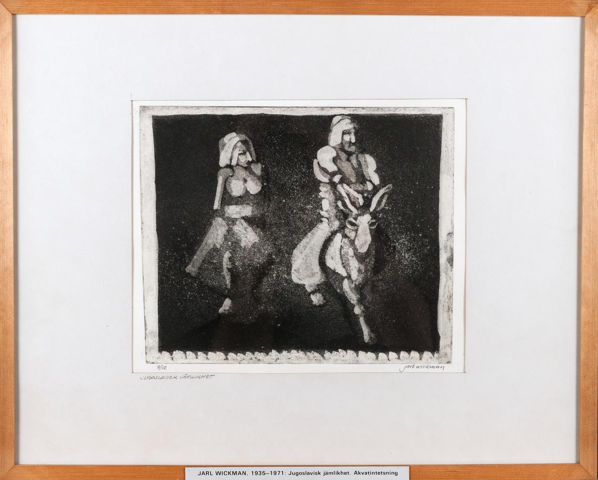 """Grafiskt blad, akvatint, av Jarl Wickman """"Jugoslavisk jämlikhet""""."""