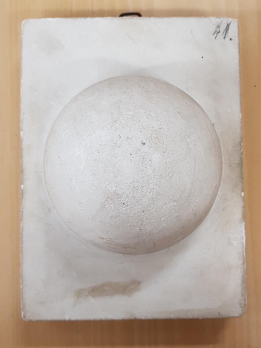 Rektangulär gipsavgjutning med ett klotformat mönster i relief.  Ingår i en samling använda i teckningsundervisning för teckning av skuggverkan m.m. Avgjutningarna visar blomsterrankor, druvklasar, blommor, halvklot, valv, kolonnhuvud m.m. Storleken på avgjutningarna varierar från medaljonger med diam. 14,3 cm. till block med storleken 25x38 cm.  Två av avgjutningarna är signerade av olika tillverkare, en av ''Tognarelli Stuttgart'' och en ''Eigenthum von J.F.T. Holmberg Altona''. Avgjutningarna är armerade med trä samt försedda med metallöglor för upphängning. En avgjutning har avslaget hörn och en har en genomgående spricka.  Avgjutningarna upptäcktes i Januari 1995 i källaren på f.d. Vänersborgs Flickskola. De låg packade i en trälåda fylld av träull.