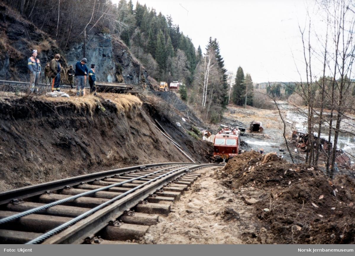 Avsporet og veltet elektrisk lokomotiv El 16 2204 etter å å kjørt inn i et jordras. Lokomotivet fikk store skader, men ble berget og reparert. Her er lokomotivet flyttet over på provisorisk spor og i ferd med å bli trukket opp på hovedsporet