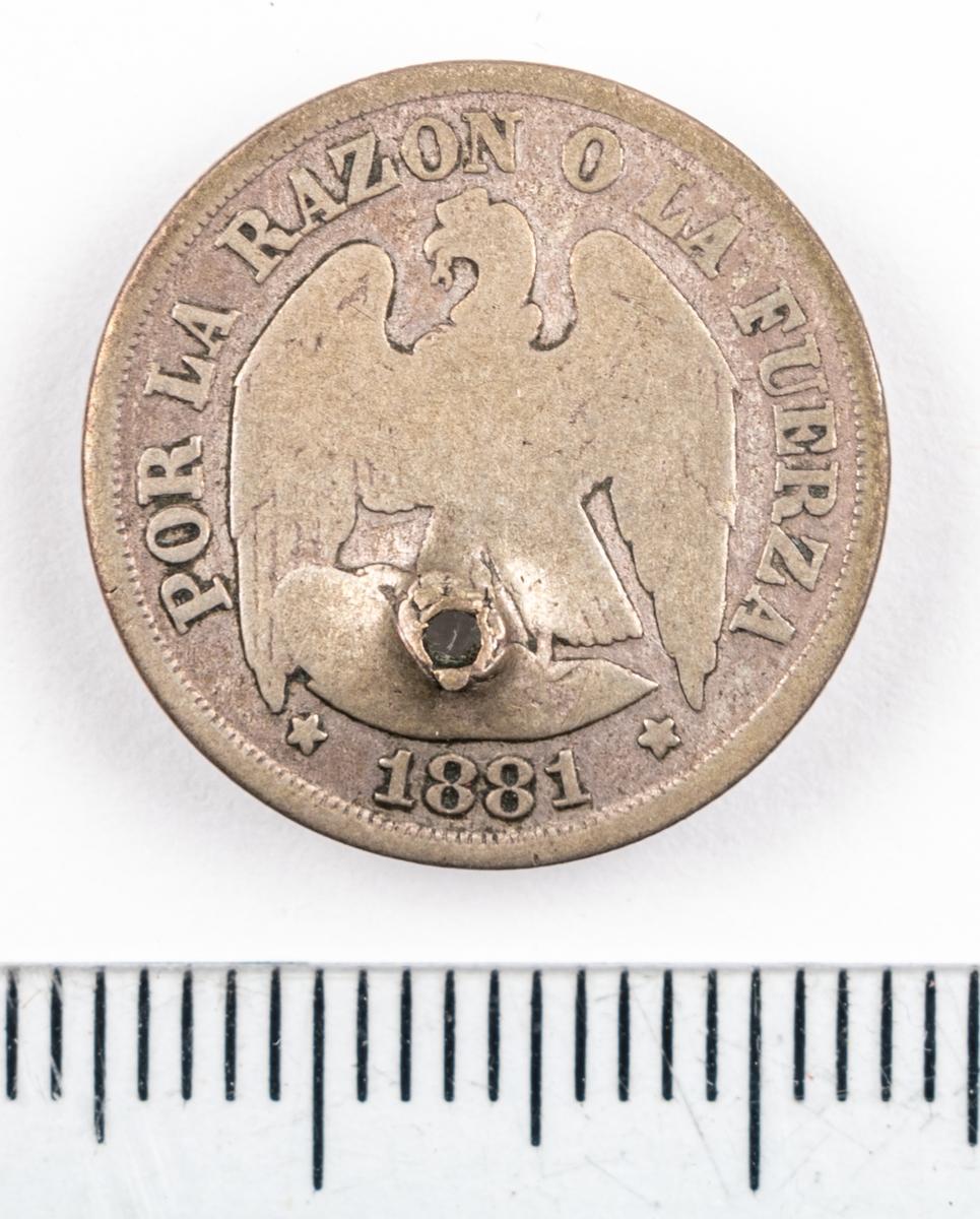 Mynt, Chile, 1881, 1 Decimo. Håltagning i myntet.