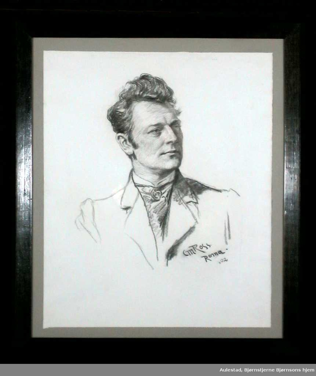 Portrett av ung mann i profil.
