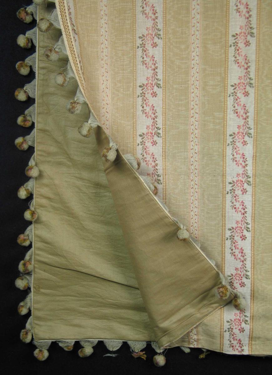 Portierlengde med langssgående blomsterborder. 11 cm bred gul stripe i moirert rips, småmønstrete midtbord. 5 cm bred stripe i lin med bølgete blomsterranke. En mønsterrapport i bredden: 16 cm. Fôret med seks-skaftet kypert i bomull. Bunnfargen er beige med dekor i gult, rosa og grønt. Langs kanten mot døråpning og nederst påsydd vevd bomullsbånd med ullponponger, festet i uttrukket ullinnslag.