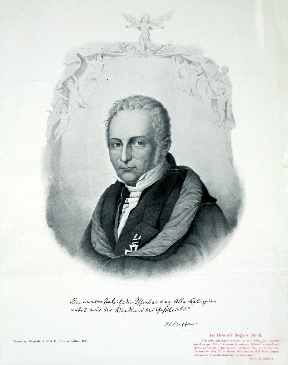 Litografi med trykt sitat av den portretterte. Nederst til venstre med rødt trykk, en oppfordring av kunstneren, delvis skrevet på latin.