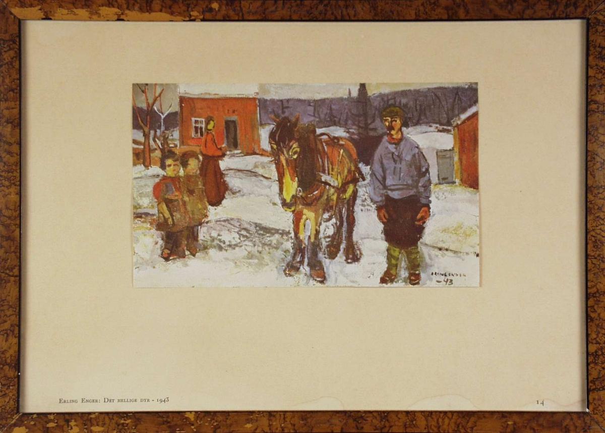 En mann med hest og barn.