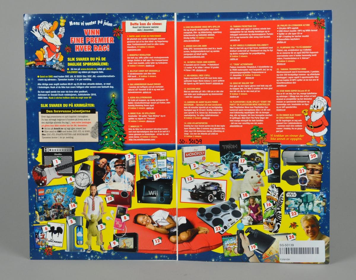 Kalenderen har Walt Disney-figurer i et julepyntet Andeby-miljø: Donald i forgrunnen, seler, reinsdyr og hus i bakgrunnen. Kalenderen kan brettes sammen. kalenderen er fra 20|0. Kalenderen har mye tekst på baksiden