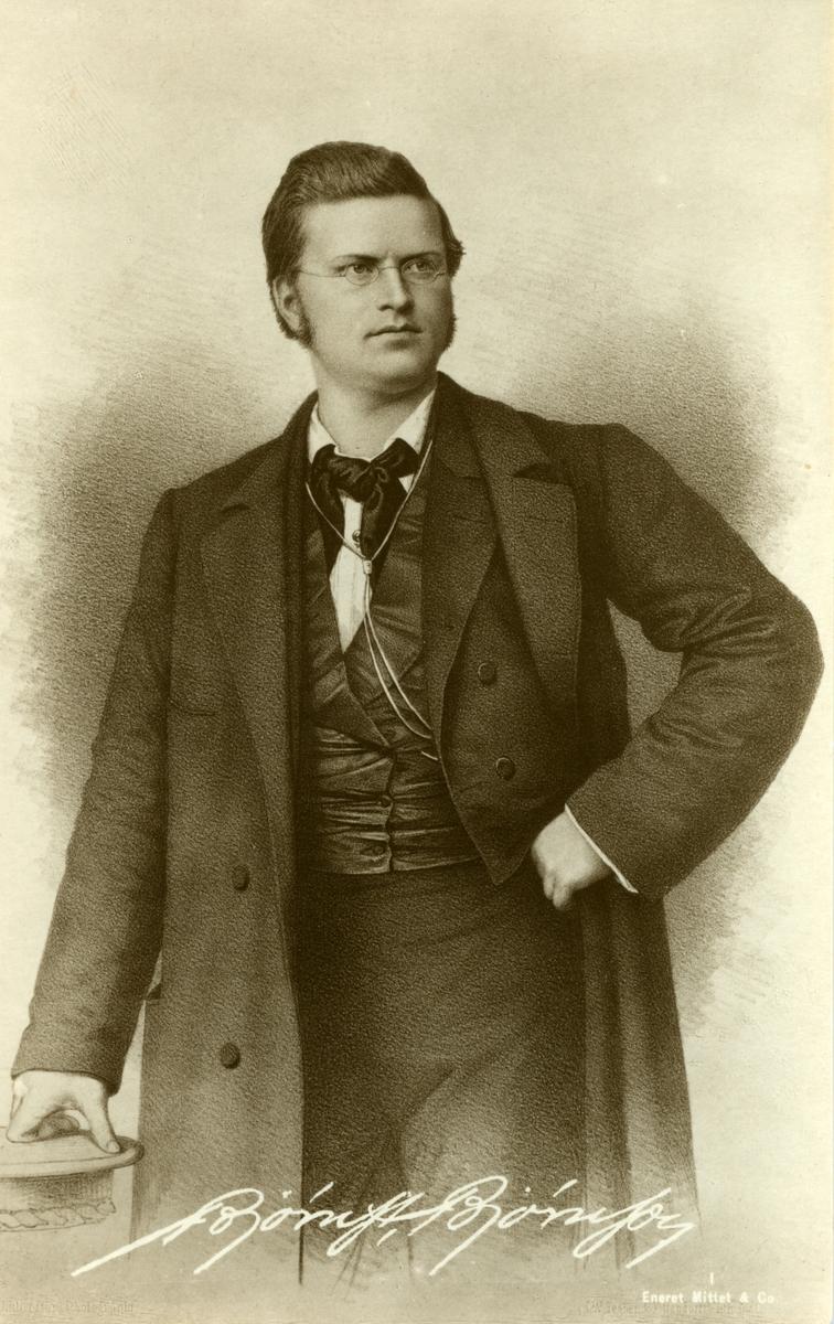 Bjørnstjerne Bjørnson, litografi, postkort,