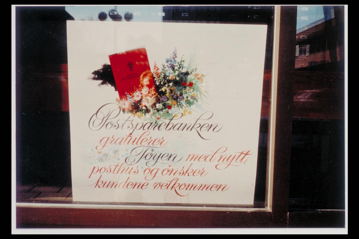 interiør, postkontor, 0608 Tøyen, åpningen, gratulasjonskort