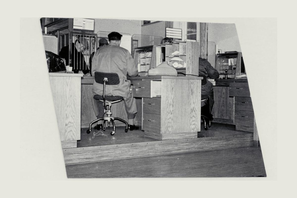 interiør, postkontor, skranke, innsiden