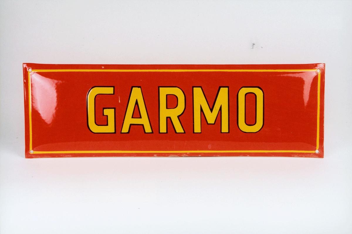 Postmuseet, gjenstander, skilt, stedskilt, stedsnavn, Garmo.