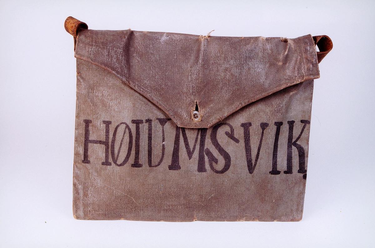 Postmuseet, gjenstander, postemballasje, veske, postveske, Høiumsvik malt på vesken.