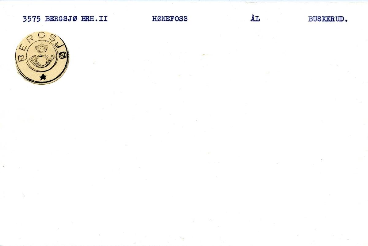 Stempelkatalog,  3575 Bergsjø Brh. II. Hønefoss postkontor. Ål kommune. Buskerud fylke.