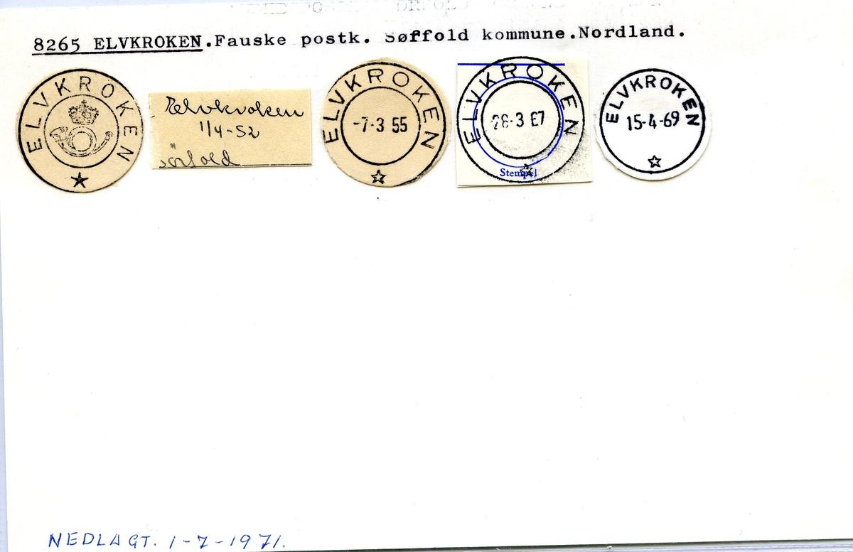 Stempelkatalog. 8265 Elvkroken. Fauske postkontor.Sørfold kommune. Nordland fylke.