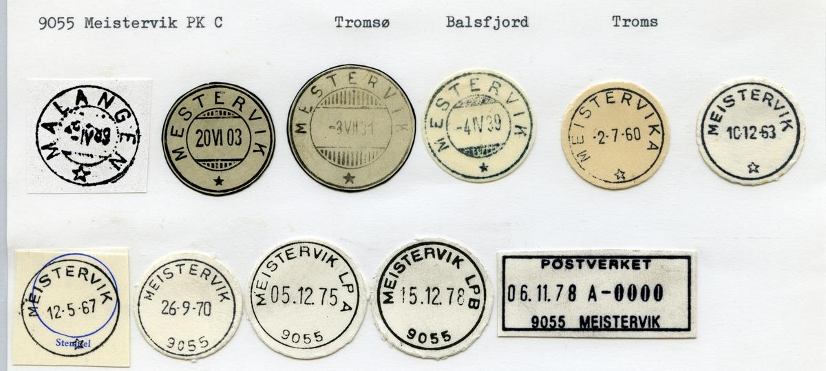 Stempelkatalog  9055 Meistervik Balsfjord kommune, Troms (Malangen)