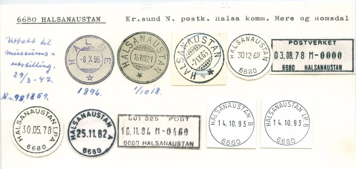 Stempelkatalog. 6680 Halsanaustan, Kr,sund N., Halsa kommune, Møre og Romsdal. (Halsa)
