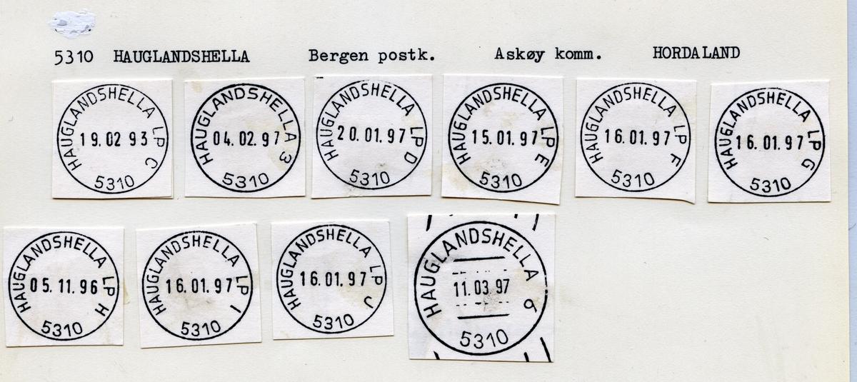 Stempelkatalog. 5310 Hauglandshella. Bergen postkontor. Askøy kommune. Hordaland fylke. Mangler bilde.