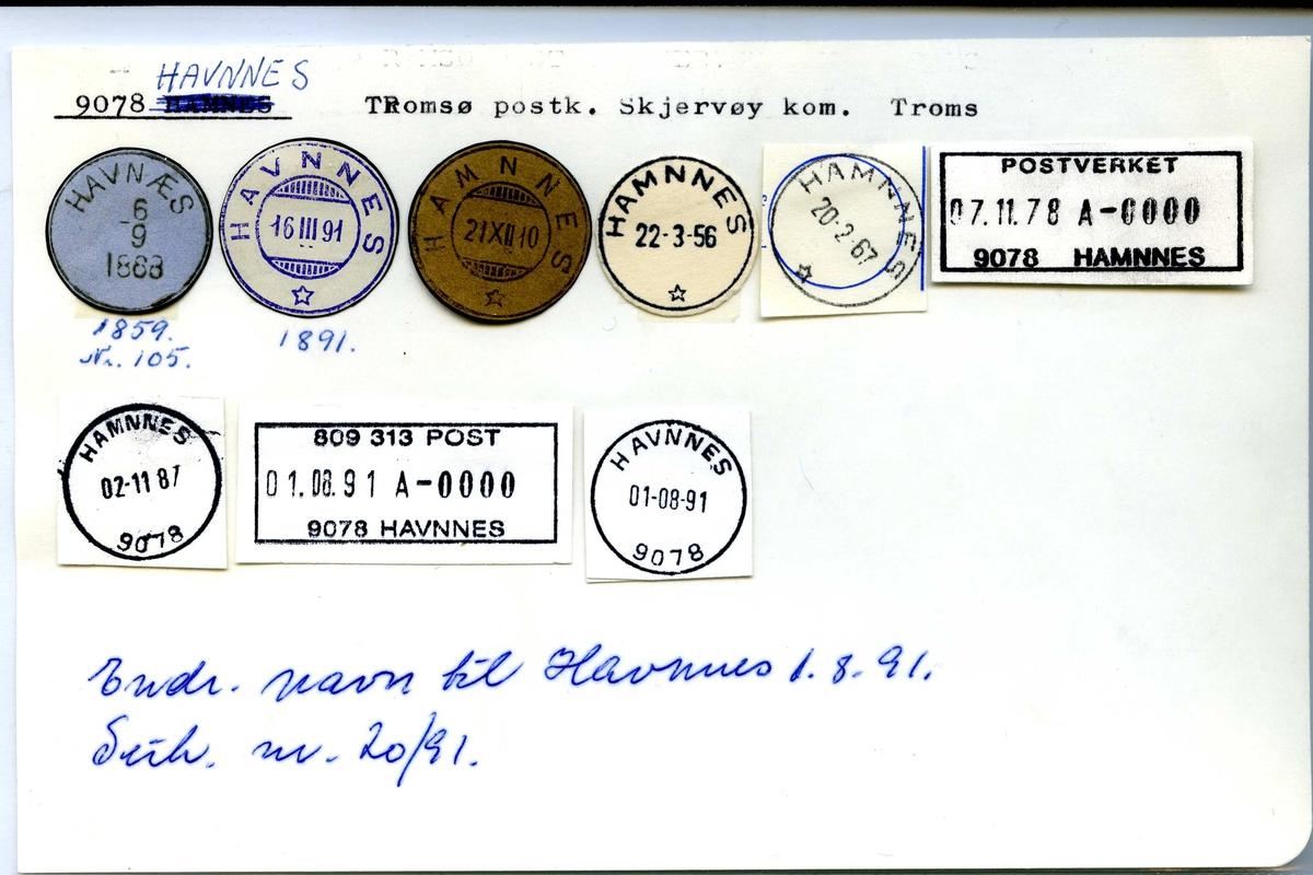 Stempelkatalog, 9078 Havnes, Tromsø postk.,Skjervøy kommune, Troms Endr. navn fra Hamnes til Havnes 1.8.1991)
