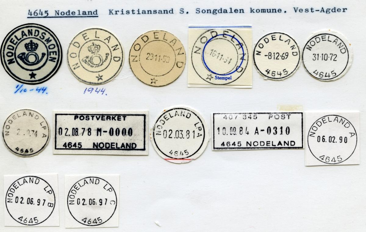 Stempelkatalog  4645 Nodeland, Kristiansand, Songdalen kommune, Vest-Agder (Nodelandsmoen)