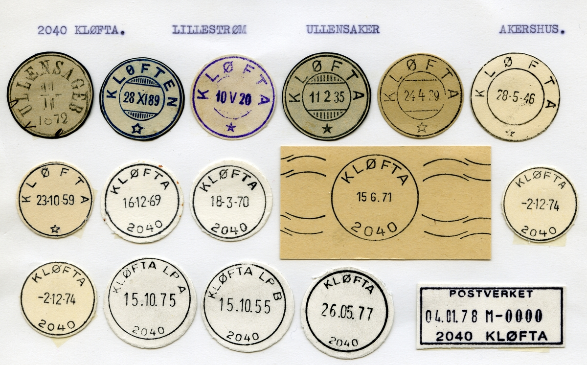 Stempelkatalog 2040 Kløfta (Ullensager, Kløften), Lillestrøm, Ullensaker, Akershus