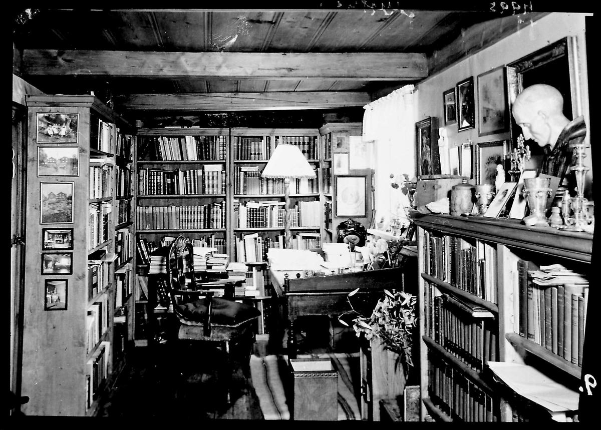 Interiør, skrivebord, hyller, bøker, kleven,