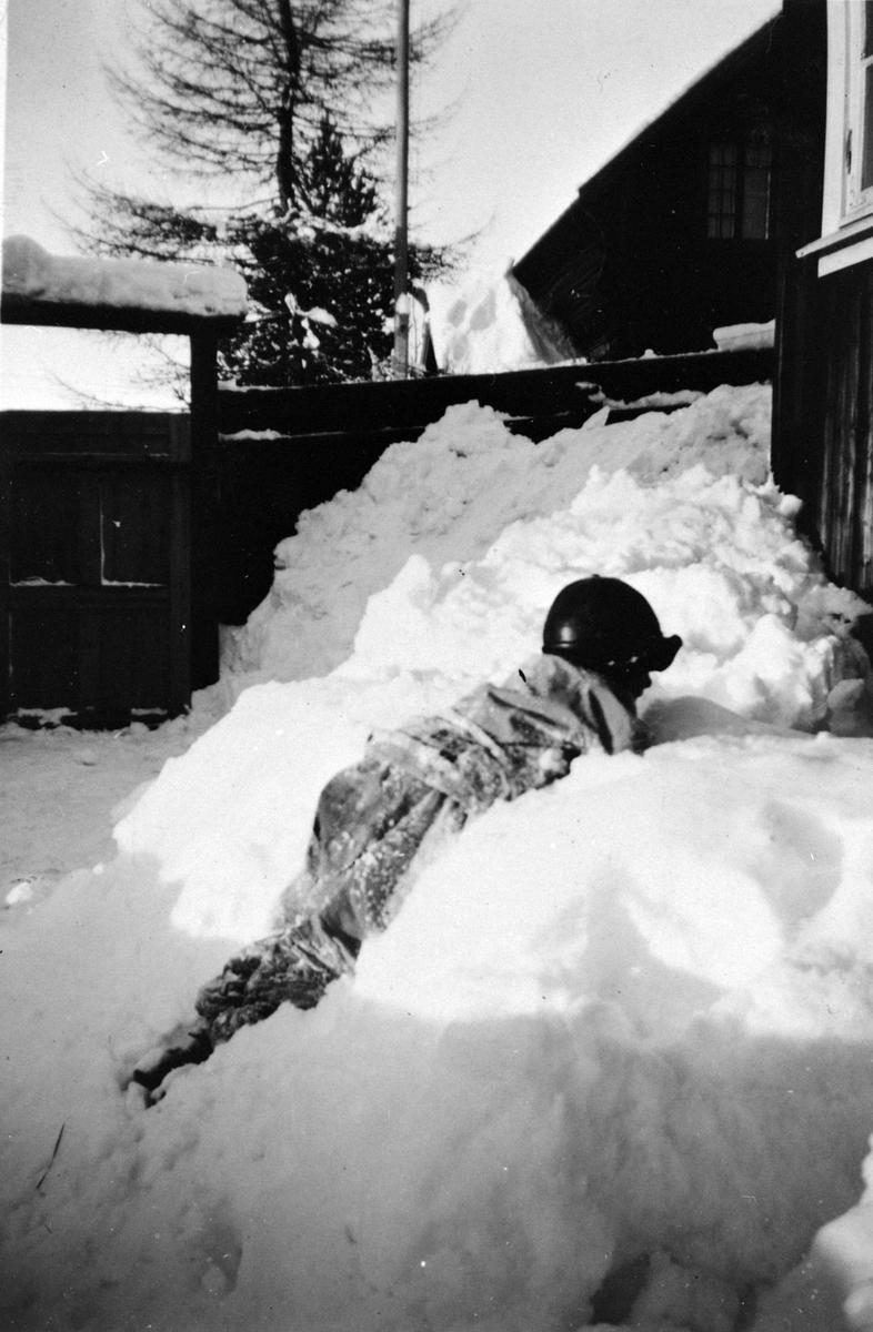 Vinter, barn, ski, hus