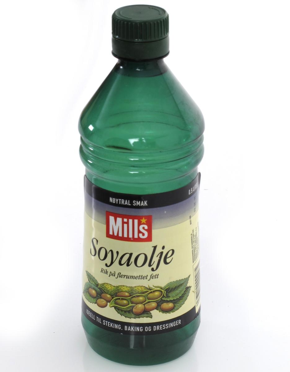 Flalske av grønn plast  for matolje.  Skrukork.
