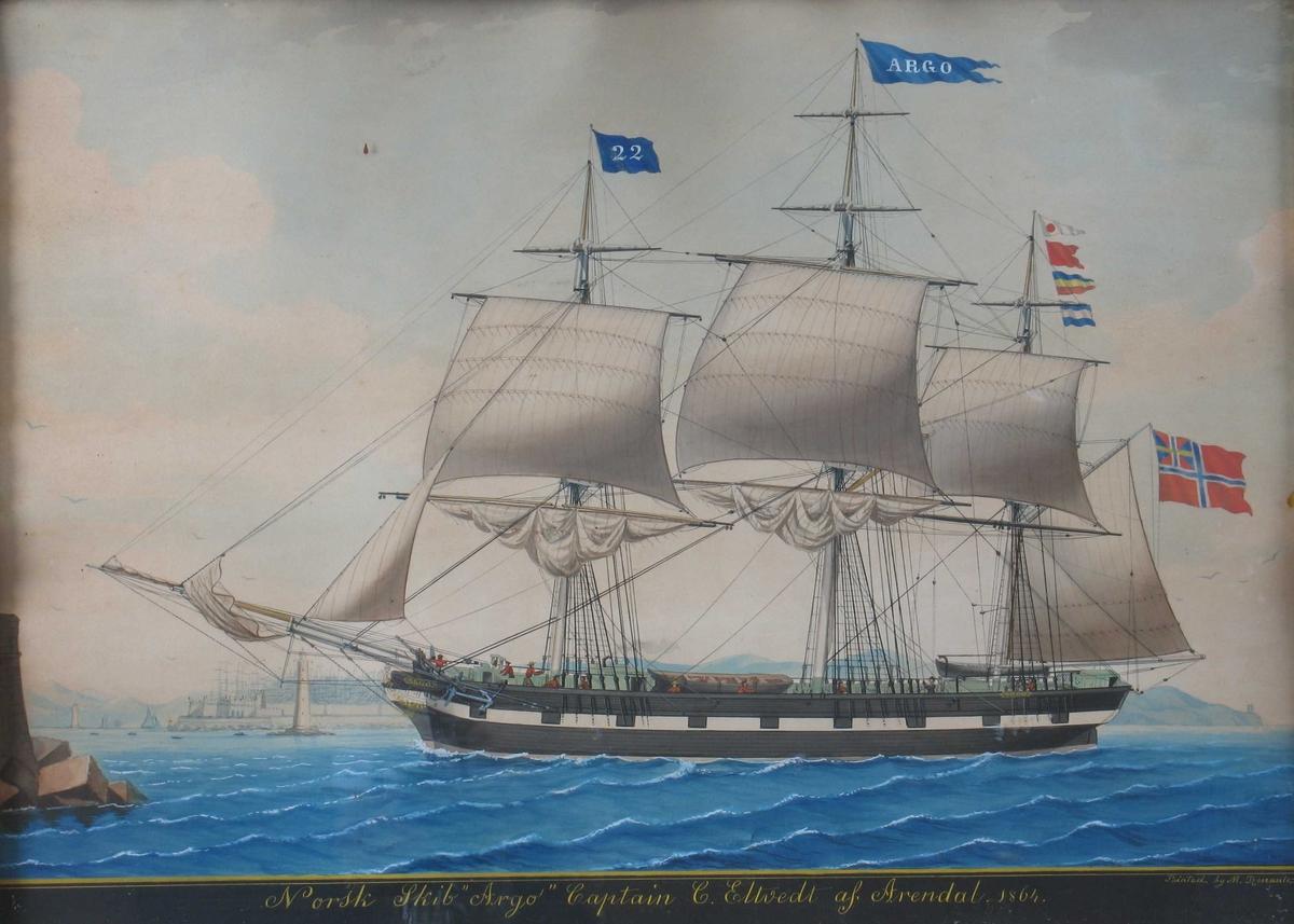 Norsk skib ARGO Captein C. Eltvedt af Arendal. 1864 Sett fra babord, opptar praktisk talt hele billedflaten.   Sort skrog med markerte kanonporter  på hvitt belte.   Blått nummerflagg 22 blå navnevimpel,  4 identifikasjonsflagg og norsk unionsflagg.  Mannskapet på dekk i røde trøyer og grå bukser  Sjøen blå asurblå med regelmessige hvite kammer.  Himmelen blekblå med hvite cumulus.  Tilvenstre under baugsprydet   havneparti med fyrtårn og festning  antakelig Livorno.