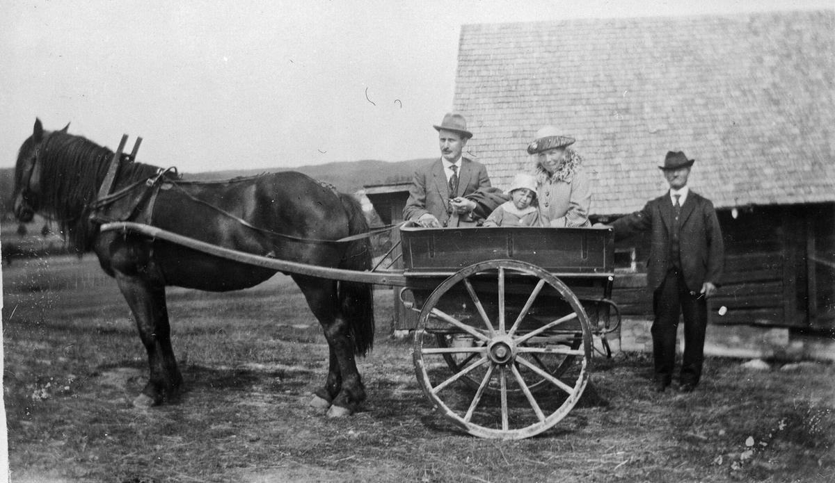 """Robert, Hanna og Aslaug Ruud i en vogn kalt """"charabanc"""" trukket av hest"""