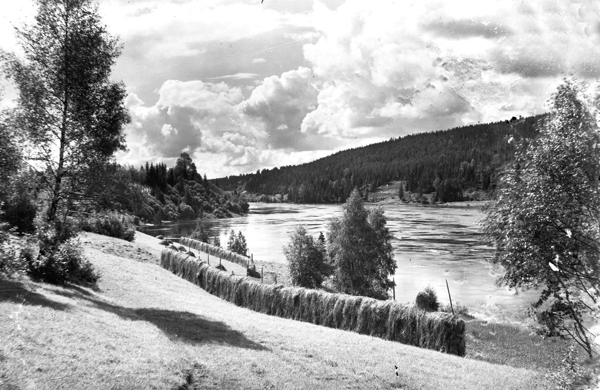 Kulturlandskap med utsikt over en elv.
